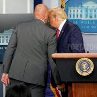 Sacan a Trump de una rueda de prensa por un tiroteo fuera de la Casa Blanca